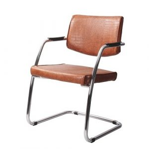 Стул офисный для посетителей Delta PA Chrome коричневый кожа 2 купить в Бресте у производителя БЕЛС