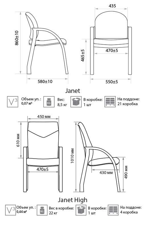 Стул Janet размеры картинка