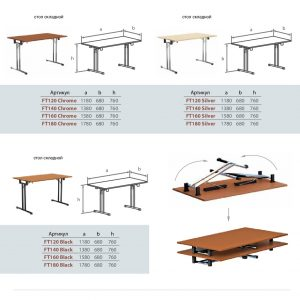 Столы складные FT размеры артикулы