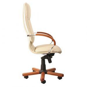 Кресло офисное для руководителя Nova wood chrome SP-J вид сбоку купить в Бресте у производителя БЕЛС