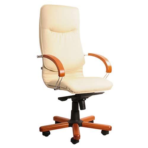Кресло офисное для руководителя Nova wood chrome SP-J молочный купить в Бресте у производителя БЕЛС