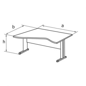 Стол угловой асимметричный MD схема