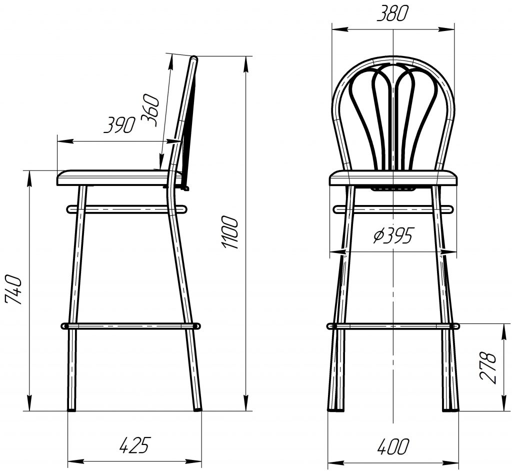 Барный стул Венус Хокер размеры схема